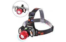 Фара на лоб або руль Police 12V 3117-T6+2COB, zoom, акум, micro USB, (синій,червоний)